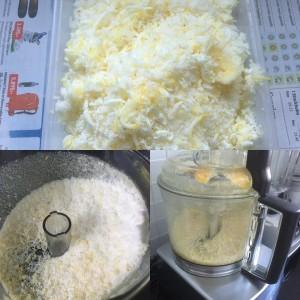 Tre bilder i kollage som visar riven citron i matberedare och i plastlåda
