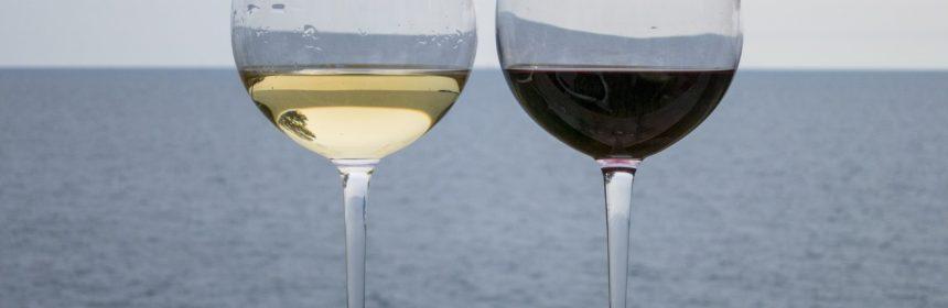 två glas vin, ett med vitt och ett med rött vin, står på ett räcke med havet i bakgrunden