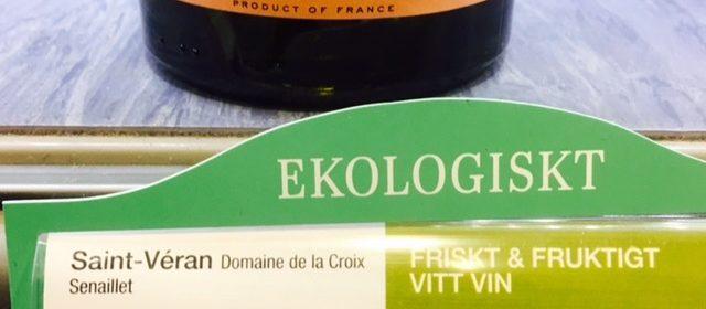 Etikett på Systembolaget för vita vinet Saint Véran från Frankrike