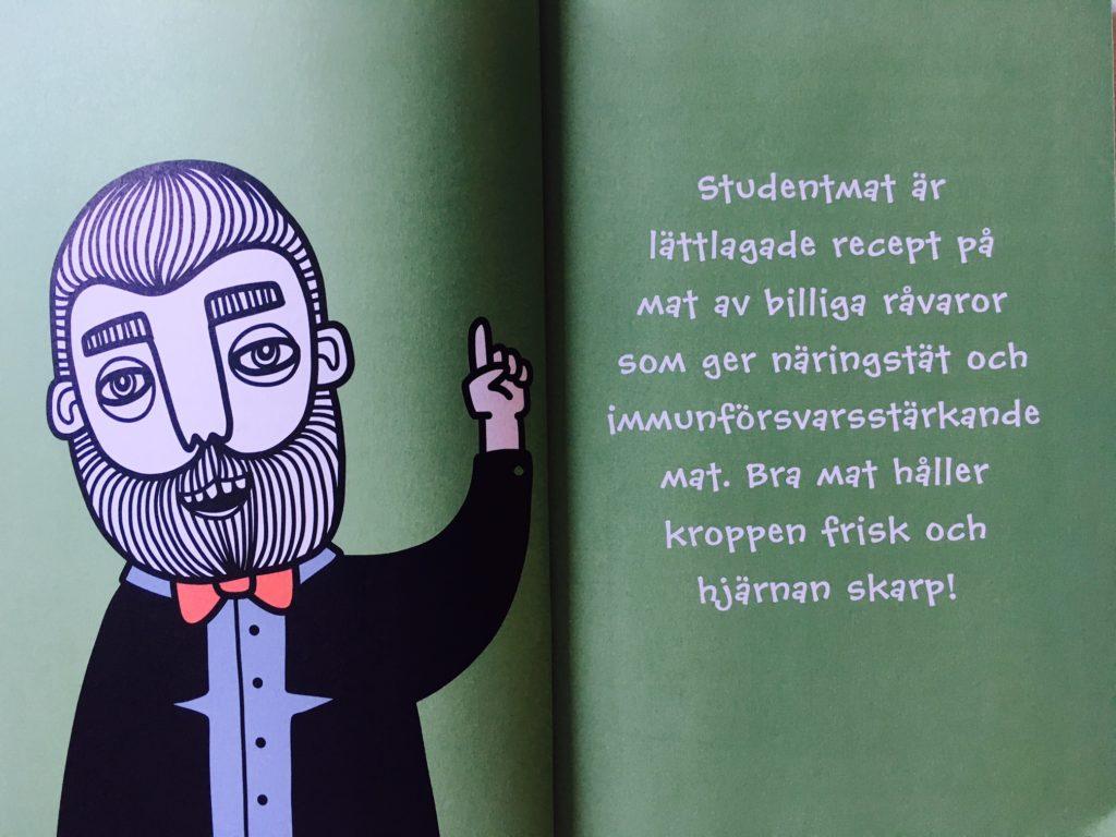 """Insida uppslag med definition på vad studentmat är i boken """"Studentmat: snabba rätter som boostar kropp & hjärna"""""""
