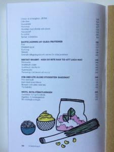 """Ena sidan av registret i boken """"Studentmat: snabba rätter som boostar kropp & hjärna"""""""
