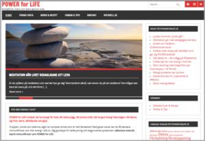 Printscreen på powerforlife.se med bloggen om att meditation gör livet behagligare att leva