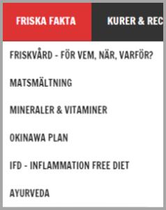 Printscreen över menyn under Friska Fakta på powerforlife.se